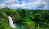 Lush Green Krajobraz wodospad na Hawajach