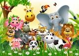 zabawny duży zestaw zwierząt kreskówki z lasu tropikalnego tła