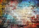 Graffiti ściana z cegieł, kolorowy tło