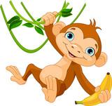 Dziecko małpa na drzewie