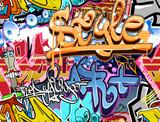 Ściana graffiti. Tło wektor sztuki miejskiej. Bezszwowa tekstura