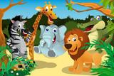 Afrykańskie zwierzęta w dżungli
