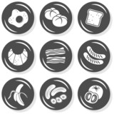 śniadanie pieczywo kiełbaski bekon zestaw szarych płaskich ikon