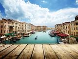 Wenecja, Włochy i drewniana powierzchnia