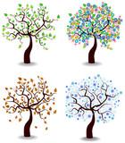 kolor ilustracji wektorowych czterech sezonów drzew