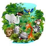Dzikie zwierzęta Cartoon w dżungli - dzikie zwierzęta w dżungli