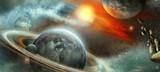 planeta z pierścieniami i satelitą
