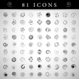 Zestaw ikon spirali - na białym tle na szarym tle