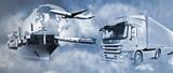 Transport ciężarówką, statkiem, samolotem i pociągiem