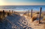 ścieżka do plaży nad Morzem Północnym w złotym słońcu