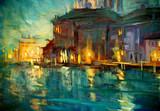 nocny krajobraz do Wenecji, obraz olejny na sklejce, ilustracja