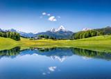 Idylliczny lato krajobraz z halnym jeziorem i Alps