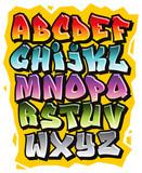 Kreskówka komiks graffiti doodle czcionki alfabetu. Wektor