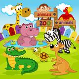 zoo zwierzęta - ilustracja wektorowa, eps