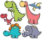 Wektorowa ilustracja dinosaurów postać z kreskówki