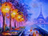 Obraz olejny z wieży Eiffla, Francja, dzieła sztuki