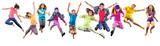 grupa szczęśliwych dzieci sportowych skoków