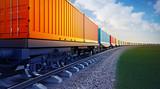 wagon pociągu towarowego z kontenerami