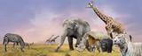 Kolaż dzikich zwierząt Savanna