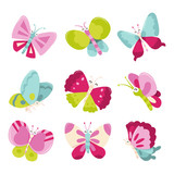 Ikony szczęśliwe słodkie motyle