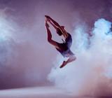 Piękny młody baletniczy doskakiwanie na lilym tle.