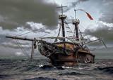 Opuszczony statek na morzu