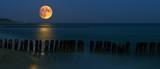 Zachód księżyca nad Bałtykiem / morze bałtyckie