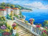 Oryginalny obraz olejny The Greece beach