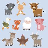Zestaw cute kreskówek zwierząt gospodarskich