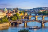 Praga miasto linia horyzontu i Charles most, Praga, republika czech