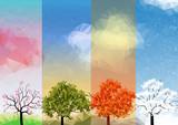 Cztery pory roku transparenty z streszczenie drzew - ilustracja wektorowa