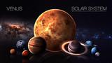 Wenus - rozdzielczość 5K Infographic przedstawia jedną z planet Układu Słonecznego. Ten obraz elementy dostarczone przez NASA