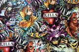 Jawny Graffiti ścienny miastowy sztuki tło. Projekt artystyczny hip-hopu grunge. Sztuki ściana przy Santorini Hua hin Tajlandia