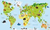 Mapa świata śmieszne kreskówki z tradycyjnych zwierząt wszystkich kontynentów i oceanów. Ilustracji wektorowych dla edukacji przedszkolnej i projektowania dzieci
