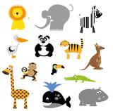 kolekcja dzikich zwierząt kreskówek