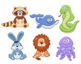 Śliczni kreskówek zwierzęta odizolowywający na białym tle. Zestaw zabawek nadziewanych. Wektorowa ilustracja uroczego pluszowego dziecka zwierzęta. Szop pracz, wieloryb, wąż, króliczek, lew, meduza.