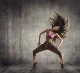 Fitness Sport Taniec, tancerz tańczący w powietrzu, beton