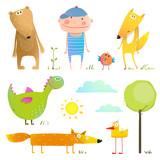 Kolekcja zwierząt kreskówek i dzieci dla dzieci