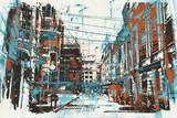 ilustracja malarstwo miejskich ulic z grunge tekstur