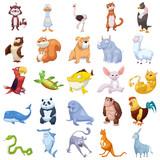 Kreatywna ilustracja i innowacyjna sztuka: stworzenie zwierzęce zestaw 2 na białym tle, kot, pies, zwierzę domowe, ryba itp. Realistyczne Fantastyczna postać z kreskówek, tapety, historia, projekt karty