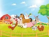 Ilustracja zwierzęta gospodarskie kreskówka