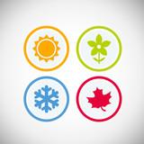 Cztery pory roku ikona symbol wektor ilustracja. Prognoza pogody. Przypnij proste elementy