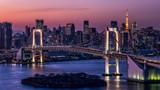 Wieczorna sceneria w sercu Tokio · Rainbow Bridge i Tokyo Tower