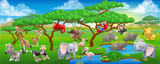 Cute Cartoon Safari Zwierząt Sceny Krajobrazu