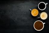 Różne rodzaje kawy z miejsca na kopię