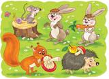 W zoo. Małe słodkie leśne zwierzęta. Zwierzęta leśne. Śliczna mysz, wiewiórka, zając, ślimak i jeż. Ilustracja dla dzieci. Kolorowanka. Strona kolorowania. Śmieszne postacie z kreskówek.