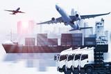 kontenerowiec, statek w porcie i fracht cargo w transporcie i importowo-eksportowy logistyka handlowa, branża żeglugowa