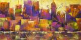 Kolorowe pejzaż - malarstwo akrylowe kolorowe panoramę miasta