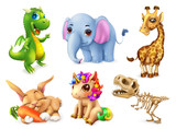 Zabawny zestaw zwierząt. Szczęśliwy króliczek, królik, słodki jednorożec, mały smok, słoniątko, żyrafa, dinozaur. 3d ikona wektor