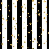 Złota polka dot na linii bezszwowe tło wzór. Folia złote konfetti. Czarno-białe paski. Dekoracja świąteczna ozdoba brokat na karty, tapety, opakowania, tekstylia. Ilustracja wektorowa